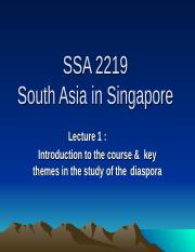 SSA 2219 Lecture One