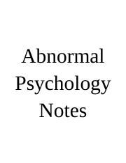 Abnormal Psychology Notes