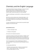 Chemistry and the English Language