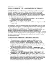 MBIO 3812 GUIDELINES FOR THE LABORATORY NOTEBOOK