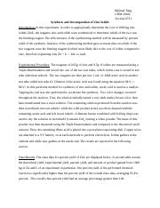 synthesis of zinc iodide lab report answers