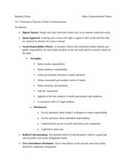 Normative Theories of Mass Communication Notes