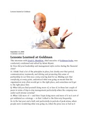 Lessons learned at Goldman