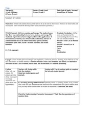 0 Template Edml 5e Lesson Plan For Generative Inquiry Le Teachers 1 Josh Hildinger 2 Susan Bennett Subject Grade Level Science Grade 8