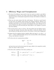 Efficiency Wage Model Notes