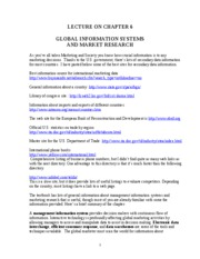 Ch. 6 Global Information Systems and Market Research