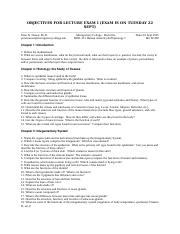 Lecture Exam 1 Study Guide Fall 2015 BIOL 212 Nassar_Edited