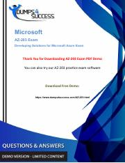 Latest Microsoft Azure az-203 Exam Dumps - Free PDF Demo