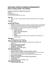 ANTH 2051 Exam 2 Study Guide Continued