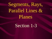 1-3 Segments, Rays, Parallel Lines, Planes