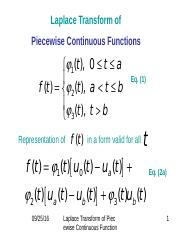 Laplace Trnsform of Piecewise Continuous Functions