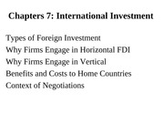 CH 7 INTERNATIONAL INVESTMENT