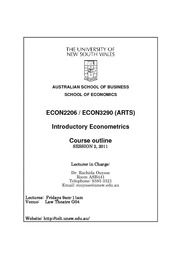 econ2206 notes Econometrics finals notes 2206  this student studied: university of new south wales - econ2206 - introductory econometrics including all completed notes from lectures and textbooks for econometrics 2206.