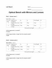 Opticalbenchlab Lab Report Name Section Optical Bench With Mirrors And Lenses Part I Convex Lens 1 Data Table L Lensl S E T U P Image Size Focal Course Hero