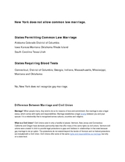 New York does not allow common law marriage