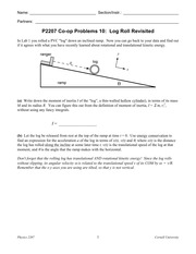 PHYS 2207  Fall 2014- CO-OP 10- Log Roll Revisited