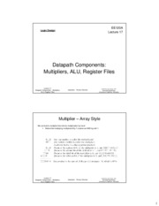 ee120a Lecture 17 - Datapath Components - Multipliers, ALU, Register Files (Slides 2x1 bw)