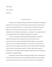 ENGL 1302 Essay on Cultural Literacy
