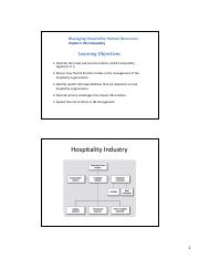 Chapter 1 - HR in Hospitality Lecture Notes