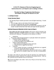 Instruction Manual for Lab Report and Grading Criteria