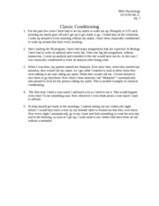 IB Psychology  classical conditioning examples