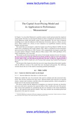 2.The Capital Asset Pricing Model and Its Application to Performance Measurement