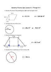 Area of Parallelogram Homework Key