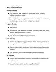 Types of Transfers Notes