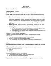 Group speech outline example hanna hein topic how to survive on 3 pages speech outline the bottom of the tie ccuart Gallery