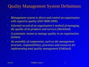 Topic 9 Quality Management Systems