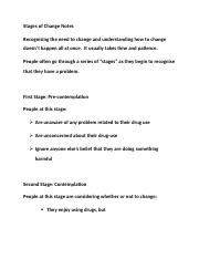 Stages of Change Notes