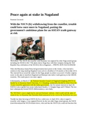 Peace again at stake in Nagaland