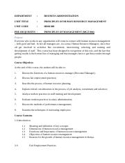 HRM 009 NOTES- PRINCIPLES OF HUMAN RESOURCES MANAGEMENT