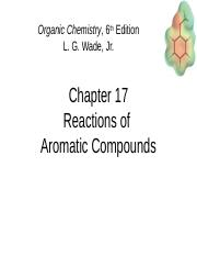 CH. 17 Reactions of Aromatic Compounds
