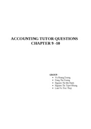 Tutor Question chapter 9+10