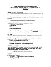SSNotes_Sociology of Sport_Ch1
