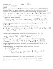 Econ 215 Exam 2 Fall 2014 Solutions
