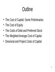 Lecuture 6 Cost of Capital