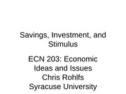 ECN 203 class 17 savings and investment