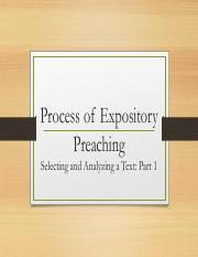 The Process of Expository Preaching (Sermon Study and Development)(1