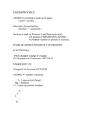 Basic Chemistry and Physics Notes