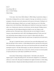 The pros and cons of internet dating essay