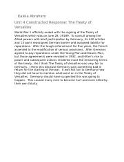 Unit 4 Constructed Response-The Treaty of Versailles kaleia abraham.docx