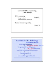 Lecture 13 DNA sequencing, human genome 51815 (2 per page)