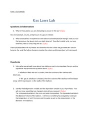 Gas Laws lab report