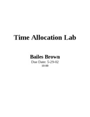 Time Allocation Lab Bailes