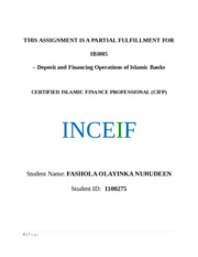 Deposit and Financial Operation of Islamic Banks