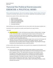 Tutorial Six Political Environments.docx