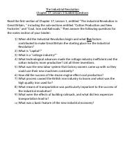 Classwork - Guided Questions for Chapter 17 Lesson 1 Section 1