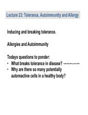 Lecture 21 Tolerance Allergy and Autoimmunity.pptx.pdf